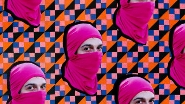Propaganda textiles – Washington, Pink Bloc protester at Gay Pride in Copacabana, 13th October 2013 (detail) 2016-17.