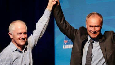 Prime Minister Malcolm Turnbull and John Alexander during the election night function at the Ryde Leagues Club last year.