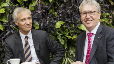 Ramsay Centre CEO Professor Simon Haines with University of Wollongong Vice Chancellor Professor Paul Wellings after signing the university to the Ramsay Centre for Western Civilisation.