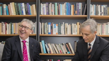 University of Wollongong Vice Chancellor Professor Paul Wellings (left) with Ramsay Centre boss Professor Simon Haines after  signing a deal to set up the Western Civilisation degree in December last year.
