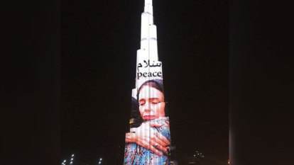 World's tallest building lit up with image of Jacinda Ardern
