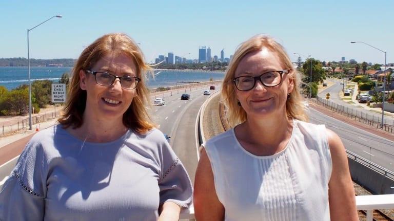 Transport Minister Rita Saffiori and Bicton MLA Lisa O'Malley at the Cale Street footbridge above Kwinana Freeway.