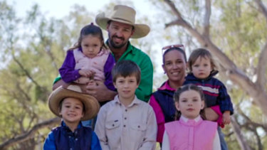 Coonamble farmer Rowena Macrae, with her husband Adam and their children.