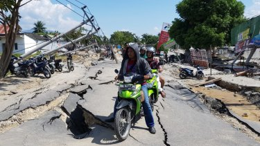 A damaged street in Sigi, Central Sulawesi.