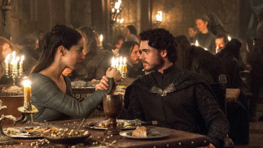 Robb Stark (Richard Madden) and Talisa (Oona Chaplin) in the infamous red wedding episode of Game of Thrones.