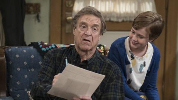 John Goodman as Dan Conner and Ames McNamara as his grandson Mark in <i>The Conners</i>.