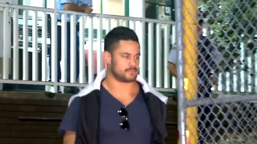 Jarryd Hayne leaving Ryde police station early on Tuesday morning.