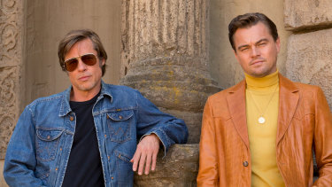 Brad Pitt and Leonardo DiCaprio go retro in the Once Upon a Time In Hollywood poster.