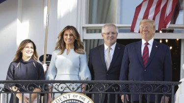 Jenny Morrison, US first lady Melania Trump, Prime Minister Scott Morrison and US President Donald Trump during a ceremonial welcome at the White House.