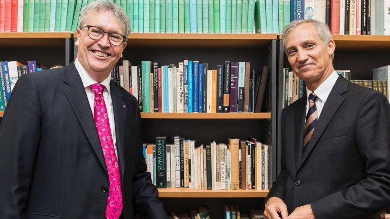 University of Wollongong Vice Chancellor Professor Paul Wellings, left, with Ramsay Centre CEO, Professor Simon Haines.