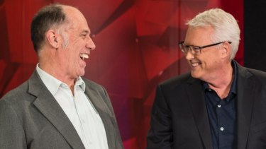 Q&A creator and executive producer Peter McEvoy, left, with host Tony Jones during the show's 10th anniversary celebrations.