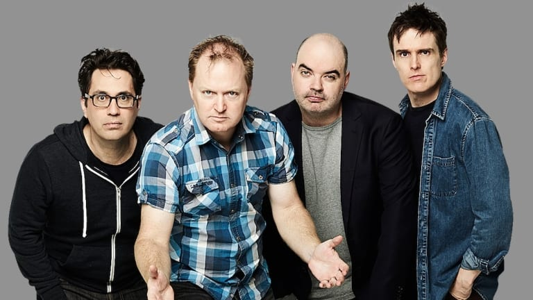 Charles Firth, second from left, with Radio Chaser Triple M co-presenters Chris Taylor, Dominic Knight and Andrew Hansen.