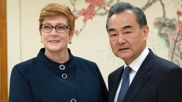 Marise Ann Payne Minister for Foreign Affairs and China State Councilor Wang Yi meet at the UN.