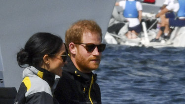 The Duke and Duchess of Sussex, Harry and Meghan, on the first day of the Invictus Games in Sydney.