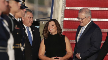 Prime Minister Scott Morrison and Jenny Morrison were greeted by Ambassador Joe Hockey on arrival in Washington DC.