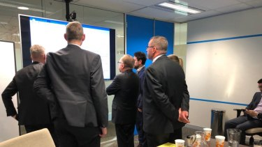 A picture tweeted by the ABC's John Lyons as police raided the public broadcaster's newsroom in Ultimo.