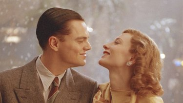 Leonardo DiCaprio as Howard Hughes and Cate Blanchett as Katharine Hepburn in The Aviator