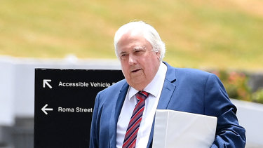 Businessman Clive Palmer arrives at the Supreme Court in Brisbane on December 4.