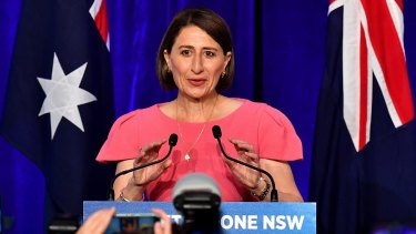 Premier Gladys Berejiklian claims victory for the Coalition government on Saturday night.