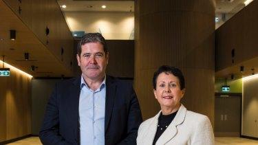 Healthscope CEO Gordon Ballantyne and former Northern Beaches Hospital CEO Deborah Latta.
