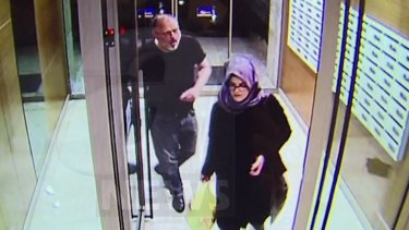 CCTV video purportedly showing Jamal Khashoggi and his fiancee, Hatice Cengiz, at an apartment in Istanbul hours before his death.