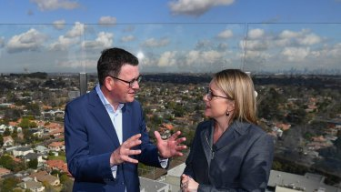 Premier Daniel Andrews and Public Transport Minister Jacinta Allan discuss the suburban loop in Box Hill in August.