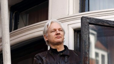 WikiLeaks founder Julian Assange at the Ecuadorian embassy in London in 2017. Stone says there's no evidence he cooperated with Assange or Wikileaks.