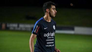 Bahraini refugee Hakeem Al-Araibi on the field for Pascoe Vale FC.