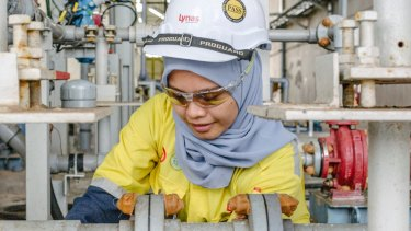 An employee at work in the Lynas processing plant in Kuantan, Malaysia.