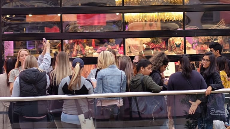Women line up in wait for the opening of the new Victoria's Secret store in Chadstone.