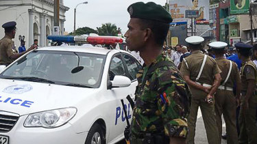 Sri Lankan soldiers secure the area around St Anthony's Shrine in Colombo on Sunday.