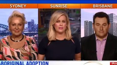 "Sunrise's Sam Armytage (centre) presents the ""Hot Topics"" segment with Prue MacSween and Ben Davis."