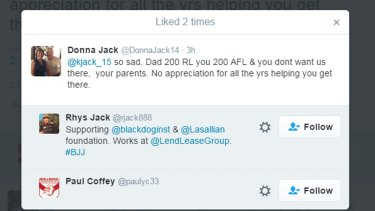 The original tweet from Donna Jack revealing a rift in the Jack family.