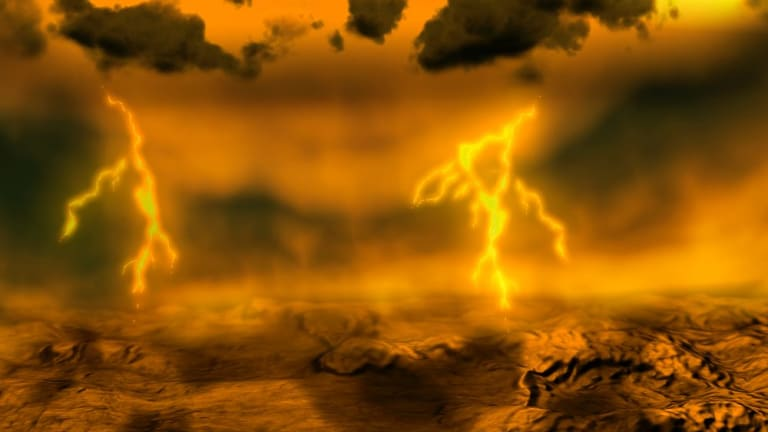An artist's rendition shows lightning striking the surface of planet Venus. Could Earth end up being as hospitable toward life as Venus?