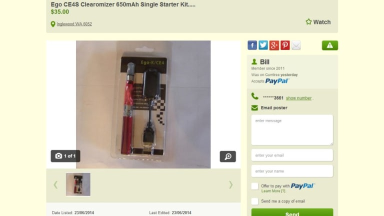 Bill's ad on Gumtree selling e-cigarettes before it was removed.