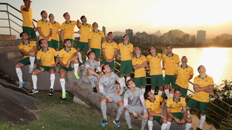Eyes on the sky: The Socceroos' team photo was interrupted by a drone deployed by a Vitoria TV station.