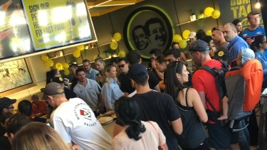 Perth punters turn out for free burritos at the new Guzman Y Gomez in the same location.