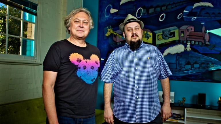 AJ Maddah (right) with the former co-owner of the Big Day Out, Ken West, in Sydney in 2013.