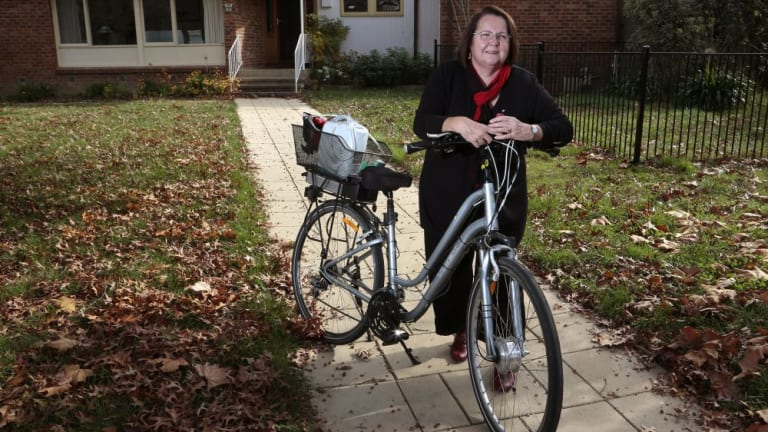 Anne Cahill Lambert prepares to go for a ride without carrying oxygen.