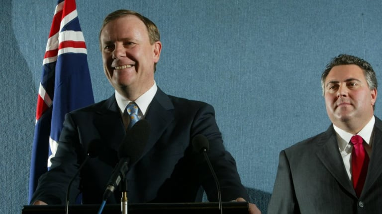"""Peter Costello (left, with Joe Hockey) in 2004. The former treasurer's """"baby boom generation"""" could easily add 20,000 higher-education applicants in the early 2020s."""