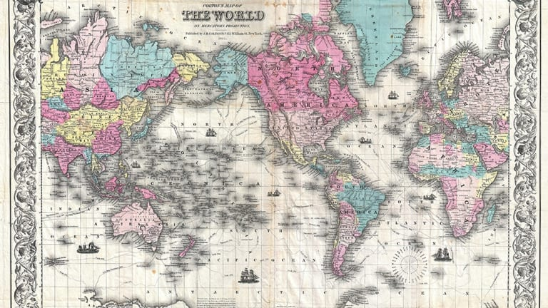 Coltonu0027s 1852 Map Of The World Uses The Mercator Projection, Cutting Off  The Highly Distorted