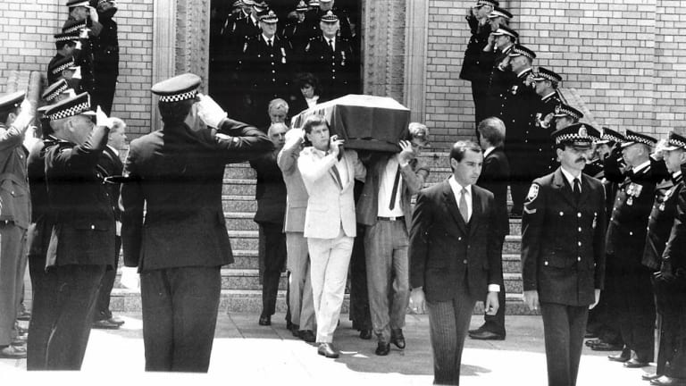 Assistant Commisioner Colin Winchester'€™s funeral at St. Christopher's cathedral in Manuka,1989.