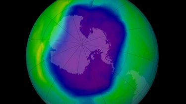 The ozone hole over Antarctica in 2006.