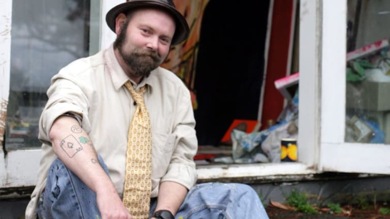 Artist Adam Cullen at his Wentworth Falls studio before his untimely death in 2012.