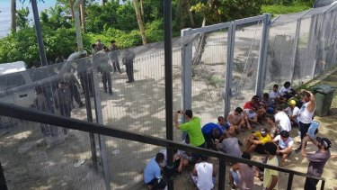 Refugees at the Manus Island regional processing centre protesting earlier this month.