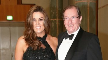 Peta Credlin and Brian Loughnane arrive for the Midwinter Ball at Parliament House in June.