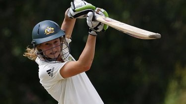 Ellyse Perry plays a shot during her first Test between Australia and England in 2008 in Bowral.