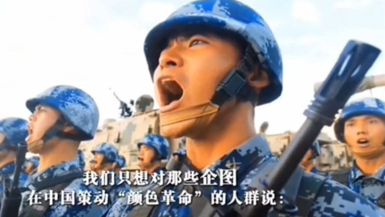 """The film rallies viewers to defend against the threat of """"foreign hostile forces"""" fomenting a """"colour revolution"""" on Chinese soil."""