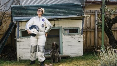 Hannah Gadsby and her dog Dougie in her new show Dogmatic.