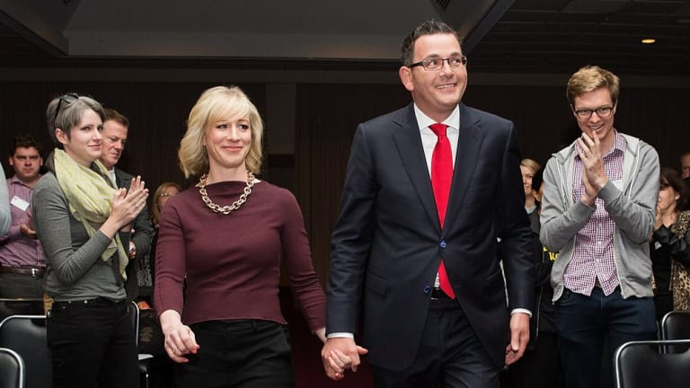 Premier of Victoria Daniel Andrews arrives at the Victorian Labor Party State Conference with his wife Catherine.